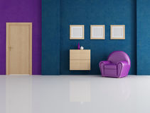 Blue and purple living room Royalty Free Stock Image