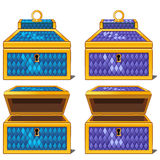 Blue and purple magic chests Royalty Free Stock Photo