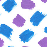 Blue and purple marker stains seamless pattern Stock Photos