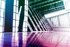 Blue Purple Modern Building Abstract. With Perspective and Colors Royalty Free Stock Photography