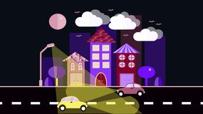 Blue with a purple night city, a small town in a flat style with houses with a sloping tile roof, cars with lights, trees, birds,. Clouds, moon, road, glowing Stock Photos