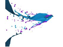 Blue and purple paint splashes Stock Photography