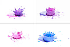 Blue and purple paint splashing on white.  stock photos
