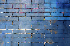 Blue and purple painted brick wall background Stock Photography