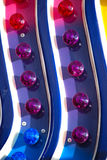 Blue, Purple, and Pink Lights. Blue, purple and pink lights on a carnival ride royalty free stock photography