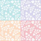 Blue purple pink and yellow flora sakura pattern color pastel tone Stock Image