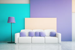 Blue and purple room interior Royalty Free Stock Images