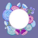 Blue and purple roses arranged in the shape of a wreath Stock Image