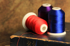 Blue purple and scarlet thread Royalty Free Stock Image