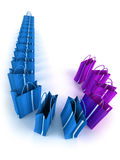 Blue and purple shopping bags queue. 3D rendering of a line of blue and purple shopping bags Stock Image