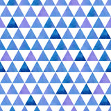 Blue and purple triangles on a white background. Seamless vector illustration. Watercolor. The pattern of tiles Royalty Free Stock Photo