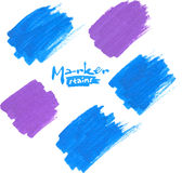 Blue and purple vector marker stains Stock Images