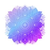 Blue floral mandala vector. Blue purple violet gradient coloring mandala, vibrant floral ornament in boho style, asian art, isolated element, vector illustration stock illustration