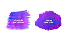 Blue with purple watercolor texture on the white background, vector ink, acrylic decoration. Trendy background for design, party, stock illustration
