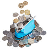 Blue purse with falling coins Stock Images