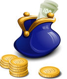 Blue purse with money Royalty Free Stock Images
