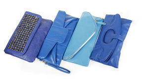 Blue purses collection Royalty Free Stock Photos