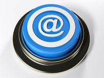 Blue push button with @ symbol - 3D rendering. A blue push button has the symbol @ on its top - 3D rendering illustration Stock Photos