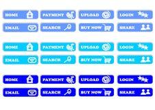 Blue push. Blue button for web design Stock Photo