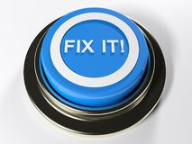 FIX IT! blue push button - 3D rendering Stock Image
