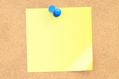 Blue push pin with blank yellow sticky note, 3D rendering. Blue push pin with blank yellow sticky note on corkboard, 3D Stock Images