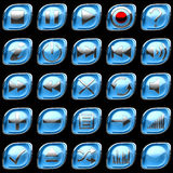 Blue pushed Control panel buttons Stock Photography