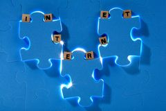 Blue puzzle royalty free stock images