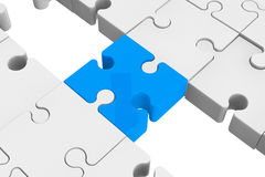 Blue puzzle as a bridge with a white parts Stock Images