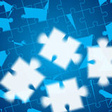 Blue puzzle background. Blue puzzle in the corner of white puzzles vector illustration