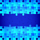 Blue puzzle background. Vector illustration of Blue puzzle background Stock Image