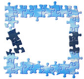 Blue puzzle border Royalty Free Stock Images