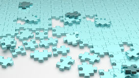 Blue puzzle. 3D rendering of blue puzzle maze together Royalty Free Stock Photo