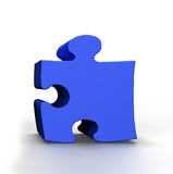 Blue Puzzle. 3D  Blue Puzzle on a white background Stock Images