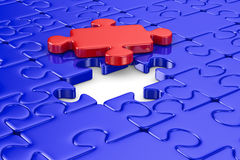 Blue puzzle and one red. Isolated 3D. Image Stock Images