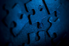 Blue puzzle parts Stock Photos