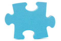 Blue puzzle piece. Over a white background Stock Photo