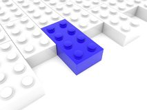 Blue puzzle piece out of white puzzle. In backgrounds Royalty Free Stock Images
