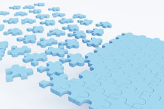 Blue puzzle piece road. On white background. Success concept. 3D Rendering Royalty Free Stock Images