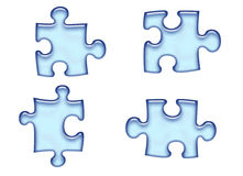 Blue Puzzle Pieces. Blue beveled 3d puzzle pieces / buttons stock illustration