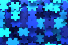 Blue puzzle pieces. Background - 3D render Royalty Free Stock Photo