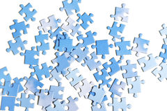 Blue puzzle pieces, isolated Stock Photos