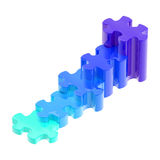 Blue puzzle pieces set as a staircase isolated. Blue glossy puzzle pieces set as a staircase isolated on white Stock Photography