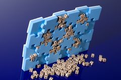 Blue puzzle with  wood letter Royalty Free Stock Images