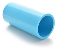 Blue pvc pipe connection on white Royalty Free Stock Image