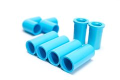 Blue PVC pipe fittings. Set Blue PVC pipe fittings on white background Stock Photography