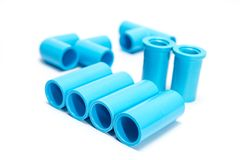 Blue PVC pipe fittings. Set Blue PVC pipe fittings on white background Royalty Free Stock Photos