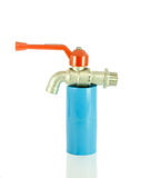 Blue pvc pipe with valve Stock Photography