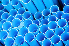 Blue pvc pipes Stock Images