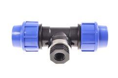 Blue pvc plumbing fittings Stock Photos
