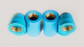 Blue pvc plumbing fittings Royalty Free Stock Image